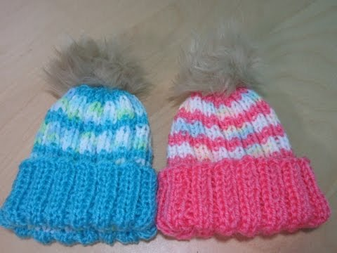 How to knit a newborn baby hat for beginners with straight needles