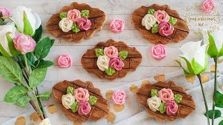 How To Make Wooden Planks Cookies With Roses