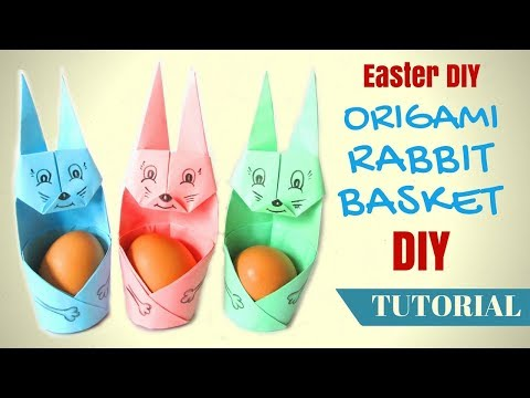 Easter diy Origami RABBIT Basket How To Make Easter Bunny  - Hand made