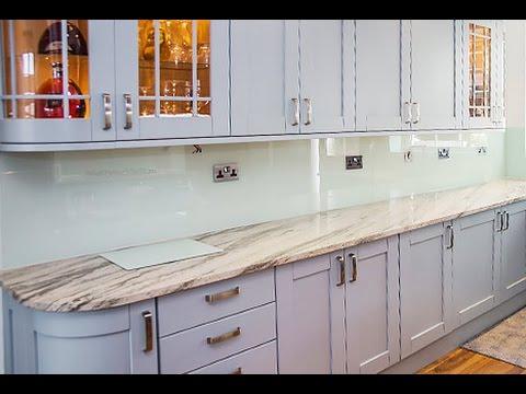 Classic Shaker Kitchen - Pale Duck Egg Glass Splashback
