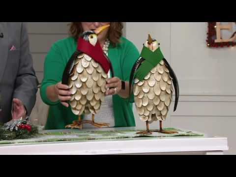 Plow and Hearth Outdoor/Indoor Set of 2 Penguins with Scarves on QVC