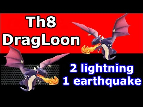Th8 Mass Dragon Attack With 2 Lightning And Earthquake Spells - Clash Of Clans