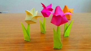 How To Make A Tulip Paper Flower Home Made Diy Origami Flowers