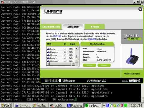 Project PWNED: Video 1 - SSID Flooding with MDK3, Ubuntu 9.10, and D-Link WDA-1320 (Atheros) card.