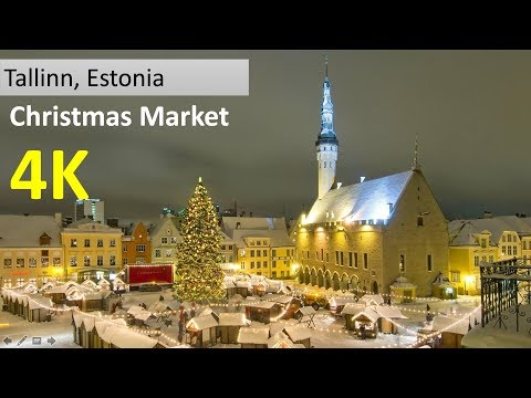 Walking to Tallinn Christmas Market, Europe best Christmas Market in 4K
