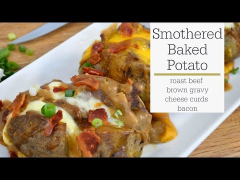 Smothered Baked  Potato With Gravy and Cheese - RadaCutlery.com