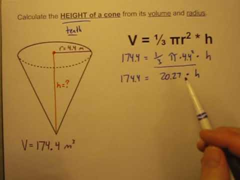 Calculate the Height of a Cone Given Its Volume and Radius