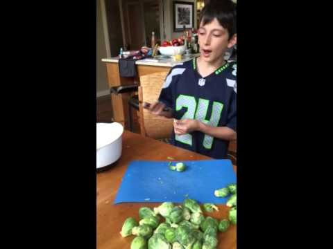 Harry teaches kids how to cut Brussel Sprouts