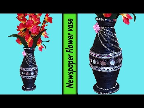 Art and Crafts-Newspaper Flower vase | Flower pot | Best out of Waste | DIY