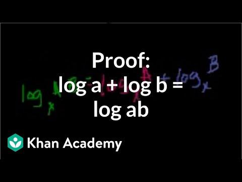 Proof: log a + log b = log ab   Logarithms   Algebra II   Khan Academy