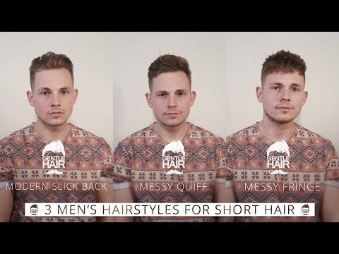 3 hairstyles for short men's hair | Modern slick back | Messy quiff | Messy fringe | GentleHair