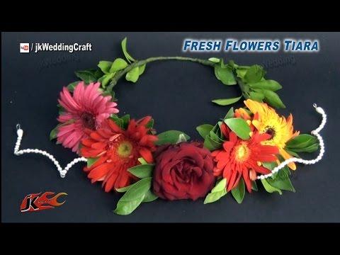 DIY How to Make a fresh Flower Crown / Tiara   JK Wedding Craft 032