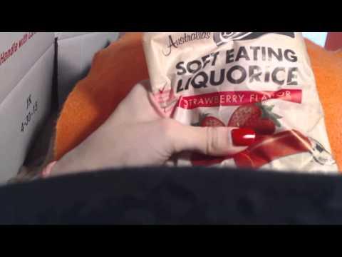 ASMR eating strawberry liquorice crinkles, tapping, tingles whispered ASMR