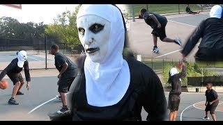THE NUN PLAYS 1V1 AT THE PARK 🏀🎃 (ANKLES ARE BROKEN)