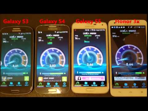 Galaxy S3 vs S4 vs S5 vs Huawei Honor 3X: INTERNET SPEED TEST