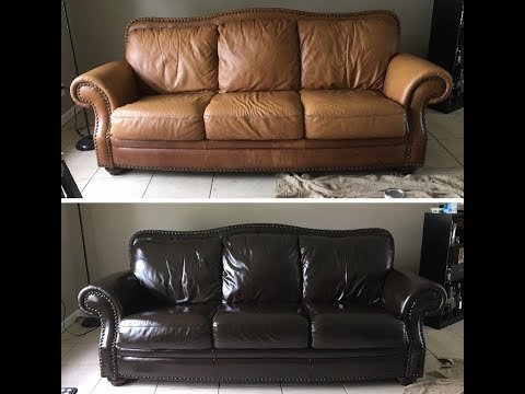 Using WOOD STAIN to make this leather couch look BRAND NEW!