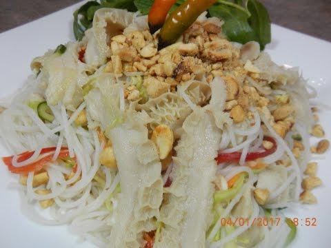 Rice Noodle Beef Tripe Salad Recipe (Neorm Noum Ma Chup Peurh Cow)