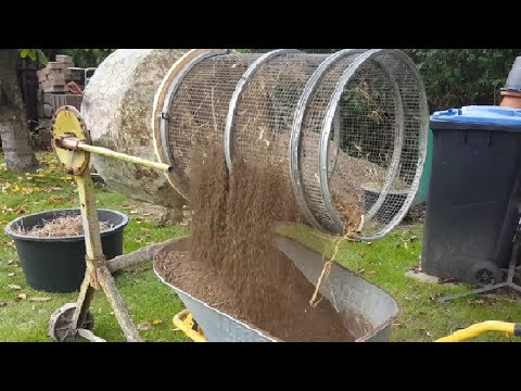 cement mixer to compost, dirt, soil Sifter - self made