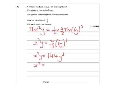 AQA Further Maths GCSE 2016 Paper 2 - Q17 - Volume & Algebra