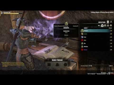Elder Scrolls Online Enchanting Runes Glyph Guide Tutorial Crafting Part 2