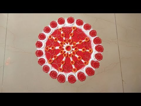 DIY | Quick and easy Rangoli making with tools for Diwali | Rose Rangoli