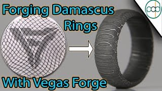 Forging Twist Damascus Steel and Making a Spirograph Ring with Vegas Forge
