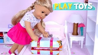 Download Baby Doll Packing Dresses in Travel Suitcase for Trip with American Girl Doll Toys! Video