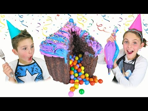 How To Make GIANT Surprise Cupcake Cake With Rainbow Candy | Guide Chef Ava Kids Cooking and Crafts