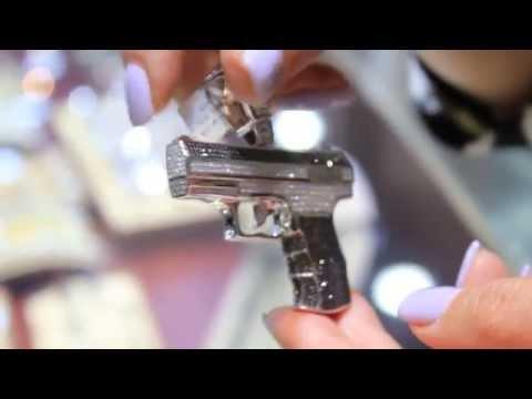 Men's 14K Solid White Gold Diamond Gun Pendant 5.71 Ctw
