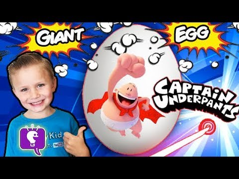 Giant CAPTAIN UNDERPANTS Egg with Surprise Toys by HobbyKidsTV