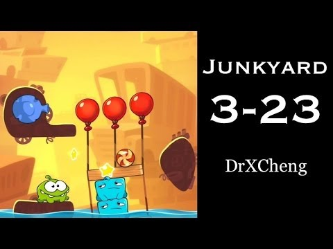 Cut the Rope 2 Walkthrough - Junkyard 3-23 - 3 Stars + Medal [HD]