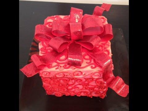 Gift Box Cake- Cake Decorating- Buttercream