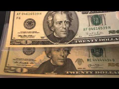 $20 Dollar Bill, Fancy Serial Number and Star Notes
