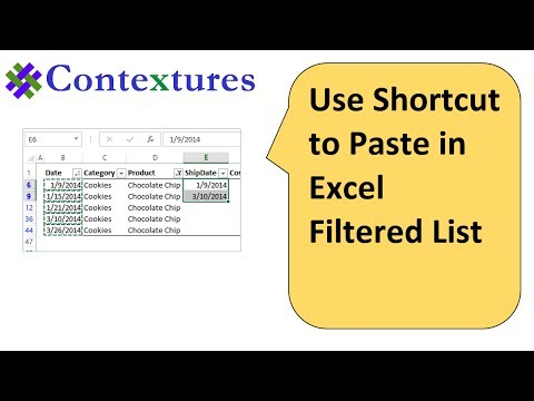 Use Shortcut to Paste in Excel Filtered List