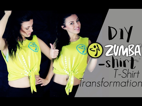 Zumba Shirt Cut DIY/ Crop Top / T-Shirt Transformation / Tutorial Zumba®Fitness Wear
