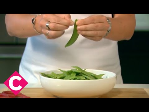 How to string and tip snap snow peas