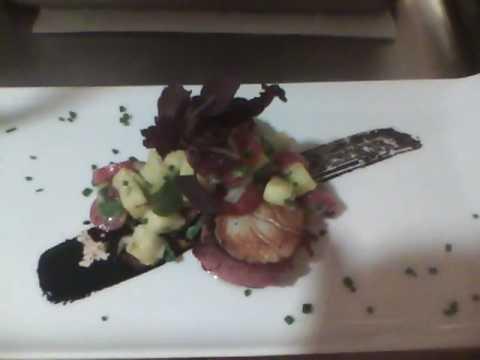 Pipikaula wrapped Dayboat Scallop ~Wasabi Pineapple Salsa, Balsamic Reduction Syrup~
