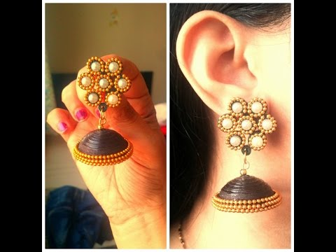 How to Make Designer Party Wear Quilling Jhumka / Tutorial