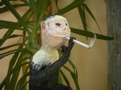 Smoking Monkey made from Paper Mache