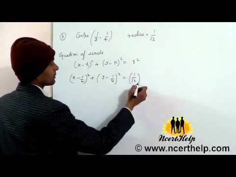 find the equation of the circle with center and radius is given
