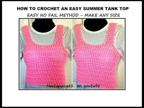 QUICK CROCHET SUMMER TANK TOP, crochet sweater,  make any size