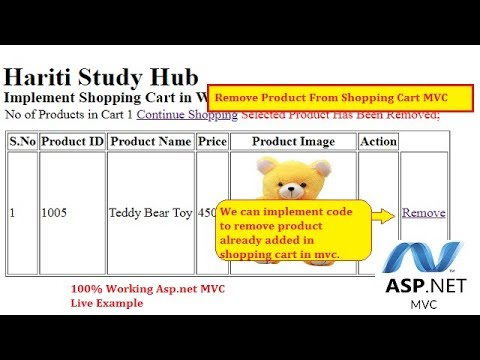 Part 3 - Remove Products From Shopping Cart in Asp.Net MVC   Hindi   Shopping   Free Online Classes