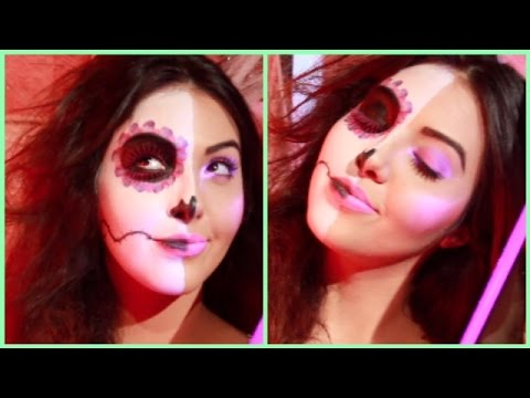 Easy Day of the Dead Sugar Skull Makeup | Black Light Makeup | Halloween Face Paint