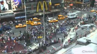 FDNY - Times Square Double Decker Bus Crash captured on EarthCam