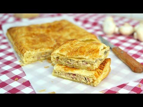 Bacon, Onion & Mushroom Empanada - Easy Bacon, Cheese & Mushroom Puff Pastry Pie Recipe