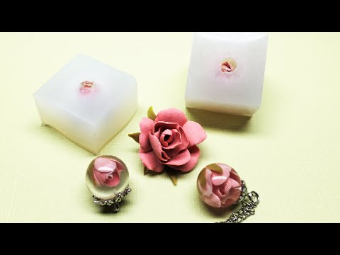Polymer clay rose and resin + sphere silicone mold- Tutorial