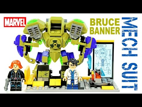 LEGO Hulk Bruce Banner Gamma Mech Suit Tony Stark's Lab KnockOff Set Review