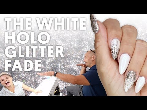 THE WHITE HOLO GLITTER FADE (GEL NAILS) -  VLOG 133