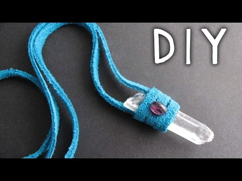 DIY Jewelry: Leather Wrap Crystal Necklace