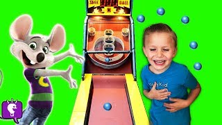 BIGFOOT FOUND at CHUCK E CHEESE!? Toys WON +Tickets Part 2 Family Fun Arcade HobbyKidsTV